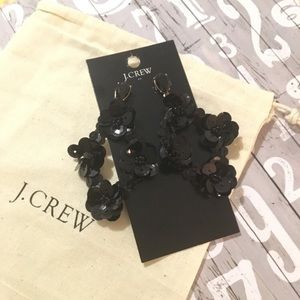 New J. Crew Sequins Statement Earrings Black